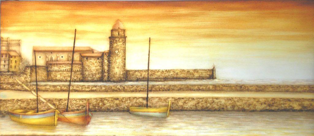 peinture sur verre de Collioure fin de journée