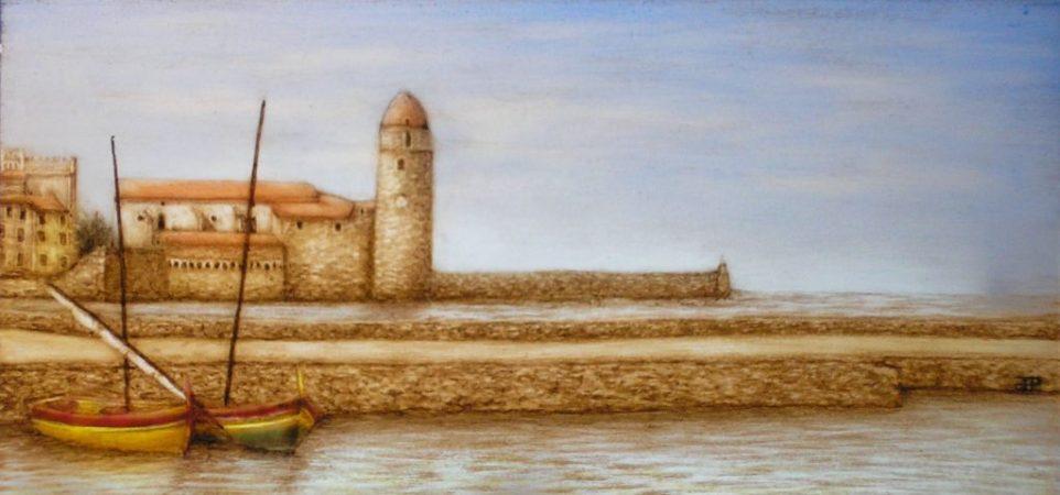 peinture sur verre vue de Collioure