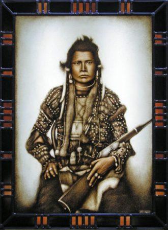 peinture sur verre d'un indien avec bordure vitrail