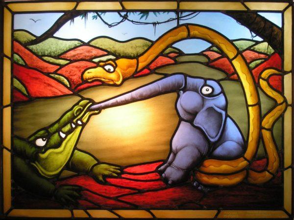 L'enfant d'éléphant, vitrail d'après un dessin de Tim Raglin. Plomb, grisaille. Particulier.