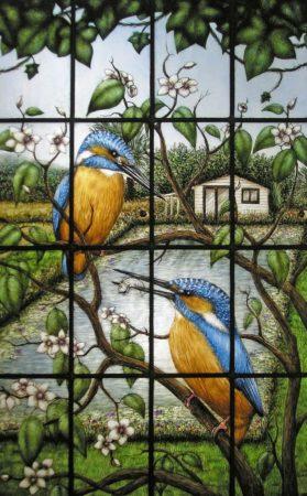 peinture sur verre représentant des martins pêcheurs