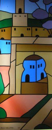 vitrail d'inspiration marocaine aux couleurs vives