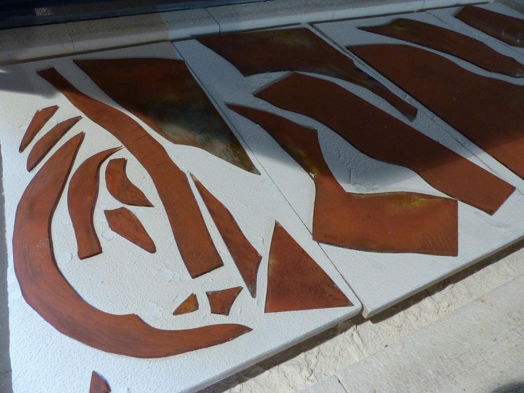 vitrail contemporain pour hall d'entrée d'un hôtel